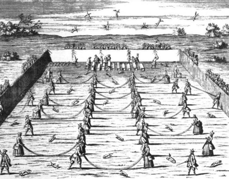 THE SPORT OP FOX TOSSING A FAVORITE AMUSEMENT AT THE GERMAN COURT 200 YEARS AGO PRINCESSES AND THEIR LADIES PARTICIPATING IN IT