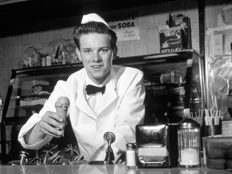 Image: A 1950s soda jerk.